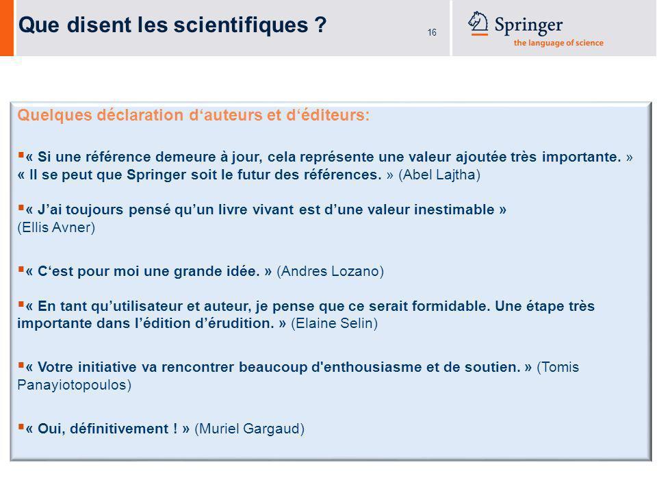 16 Que disent les scientifiques .