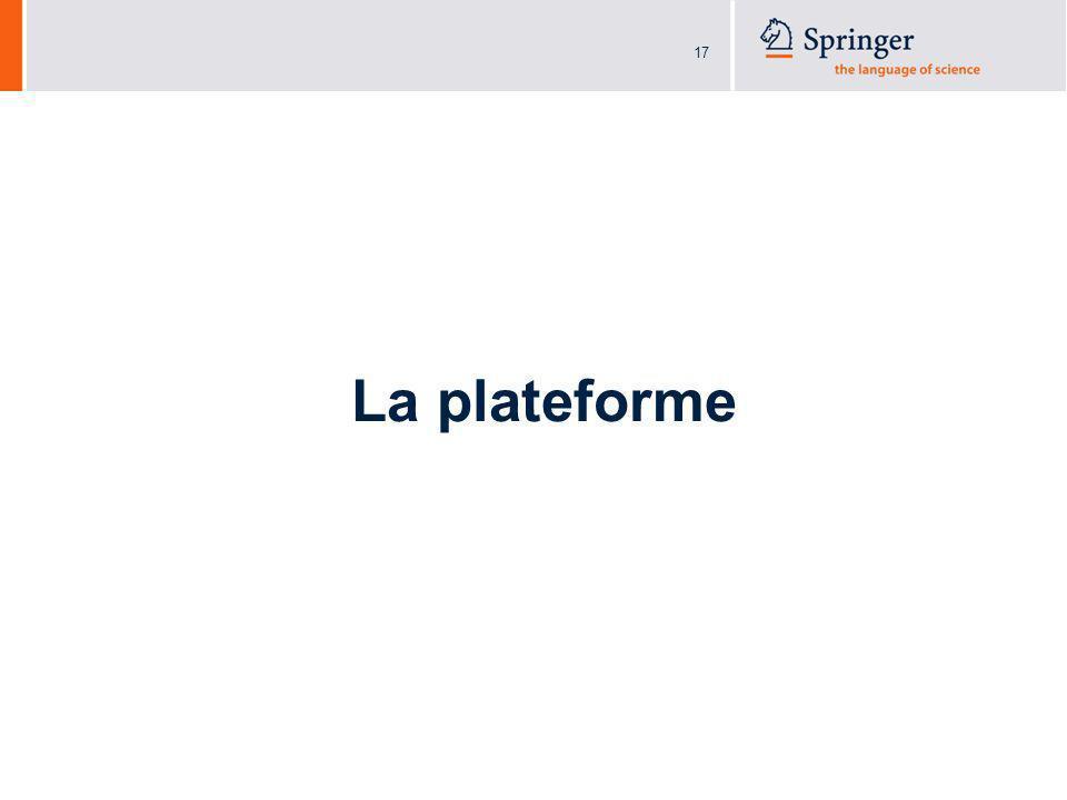 18 SpringerReference.com Page daccueil Présentation: 1.Description rapide de la plateforme 2.Articles affichés 3.Indexes des éditeurs et auteurs (avec photo et bio) 4.Entrées les plus populaires