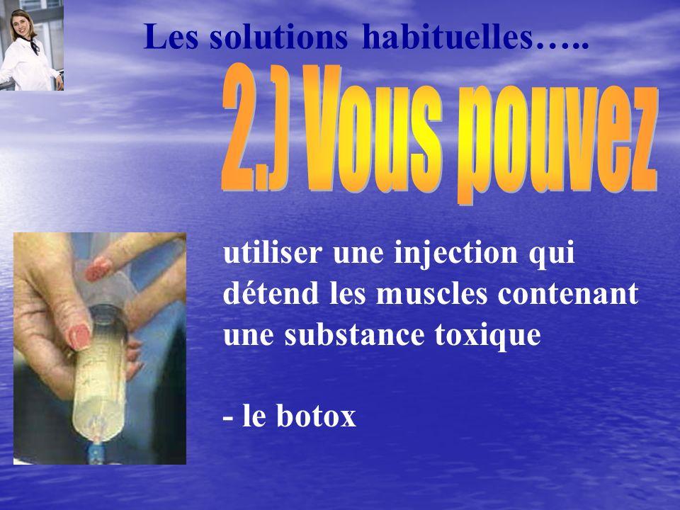 Les solutions habituelles….. utiliser une injection qui détend les muscles contenant une substance toxique - le botox