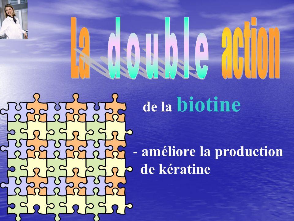 - améliore la production de kératine de la biotine