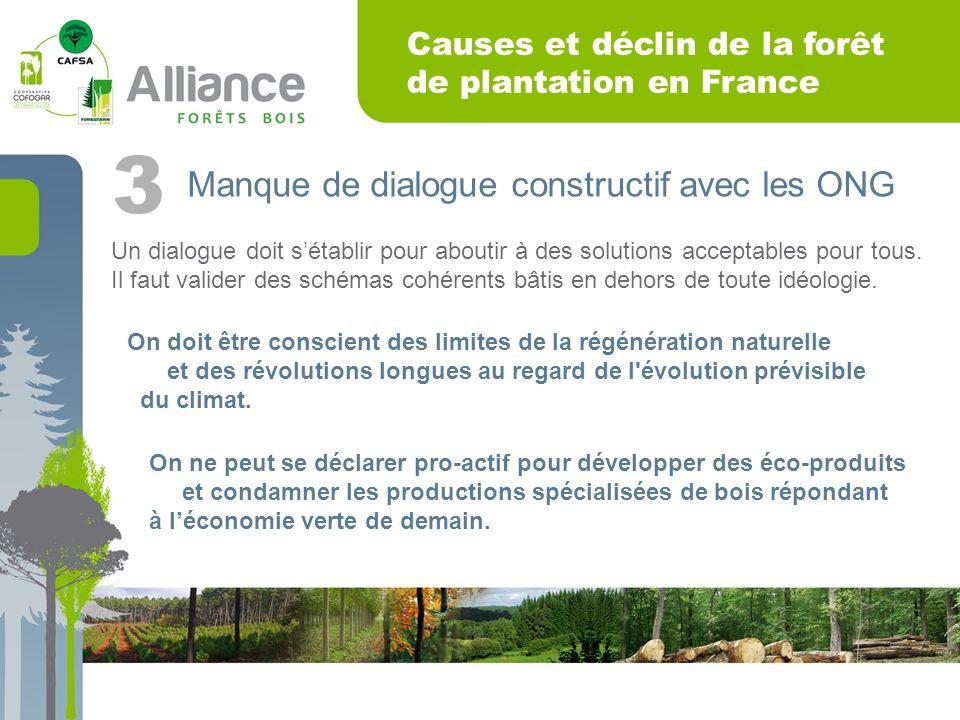 Causes et déclin de la forêt de plantation en France Manque de dialogue constructif avec les ONG 3 Un dialogue doit sétablir pour aboutir à des solutions acceptables pour tous.