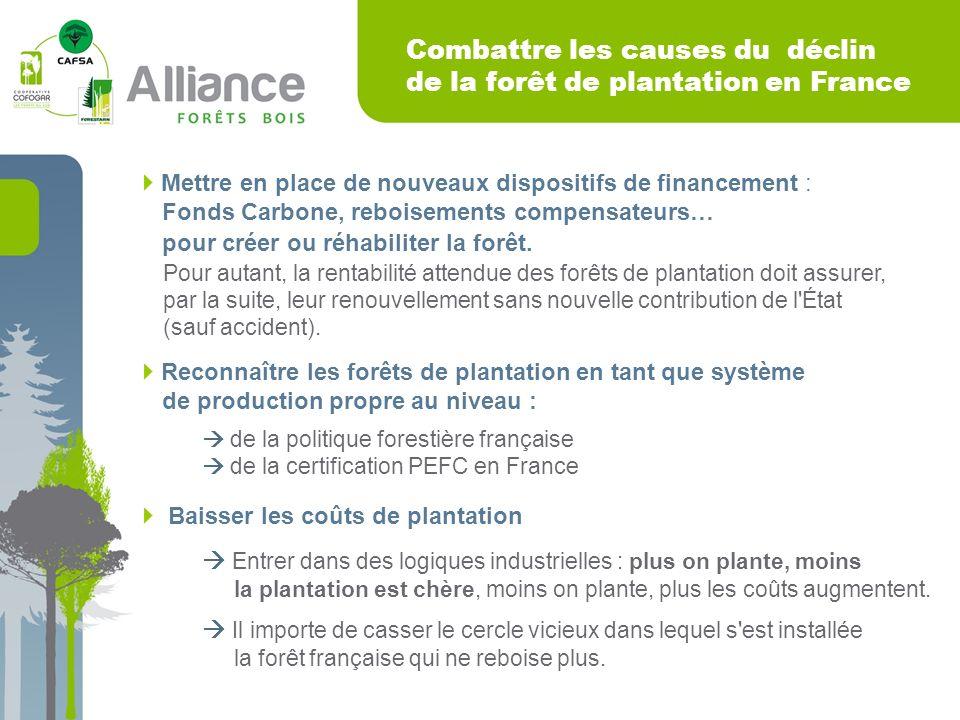Combattre les causes du déclin de la forêt de plantation en France Mettre en place de nouveaux dispositifs de financement : Fonds Carbone, reboisements compensateurs… pour créer ou réhabiliter la forêt.