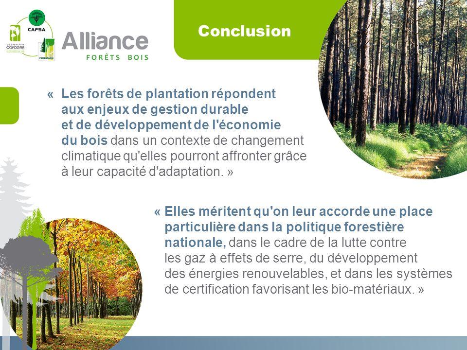 Conclusion « Elles méritent qu on leur accorde une place particulière dans la politique forestière nationale, dans le cadre de la lutte contre les gaz à effets de serre, du développement des énergies renouvelables, et dans les systèmes de certification favorisant les bio-matériaux.