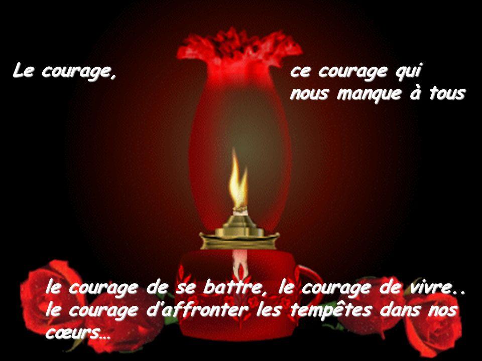Le courage, ce courage qui nous manque à tous le courage de se battre, le courage de vivre..