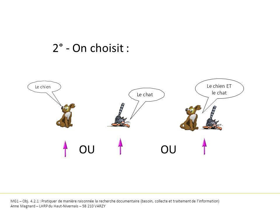 2° - On choisit : Le chien ET le chat OU MG1 – Obj. 4.2.1 : Pratiquer de manière raisonnée la recherche documentaire (besoin, collecte et traitement d
