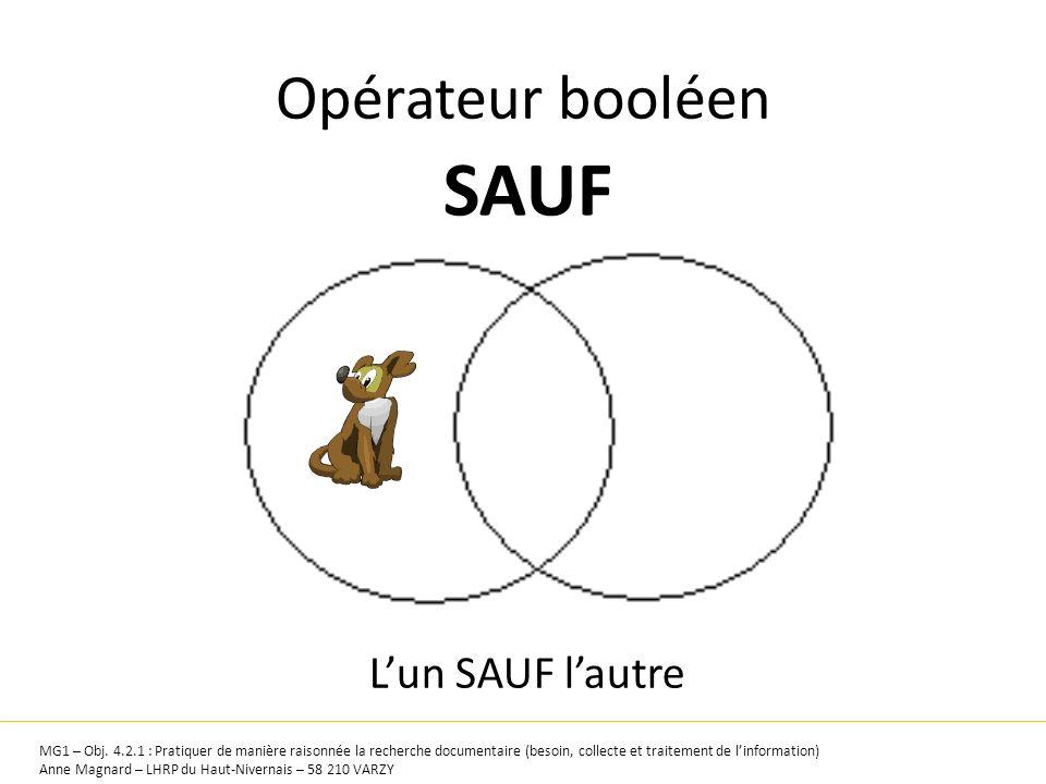 Opérateur booléen SAUF MG1 – Obj. 4.2.1 : Pratiquer de manière raisonnée la recherche documentaire (besoin, collecte et traitement de linformation) An