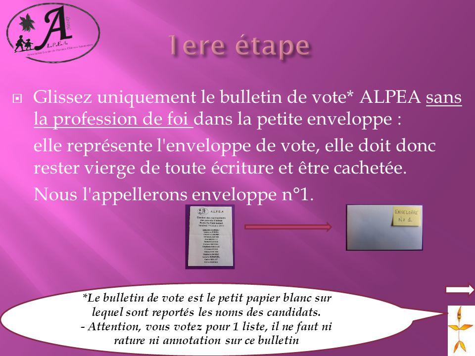 Glissez uniquement le bulletin de vote* ALPEA sans la profession de foi dans la petite enveloppe : elle représente l'enveloppe de vote, elle doit donc