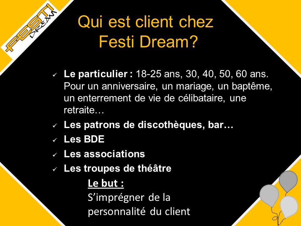 Qui est client chez Festi Dream? Le particulier : 18-25 ans, 30, 40, 50, 60 ans. Pour un anniversaire, un mariage, un baptême, un enterrement de vie d