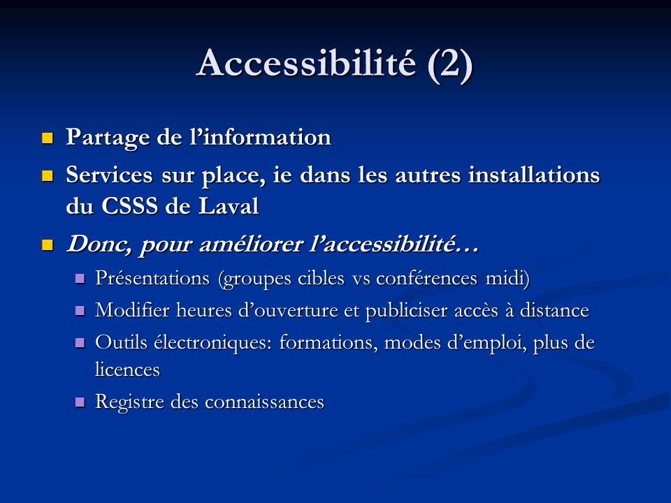 Accessibilité (2) Partage de linformation Partage de linformation Services sur place, ie dans les autres installations du CSSS de Laval Services sur p