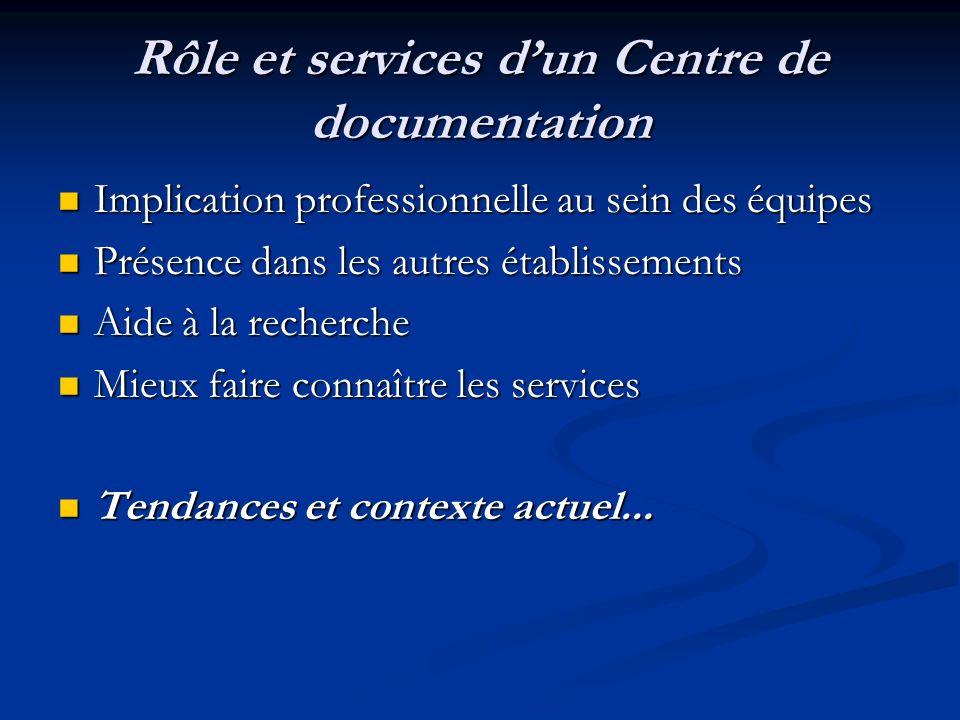 Rôle et services dun Centre de documentation Implication professionnelle au sein des équipes Implication professionnelle au sein des équipes Présence