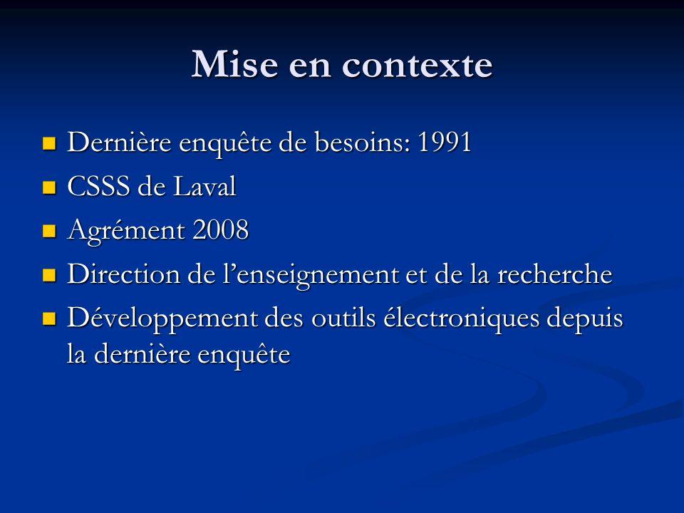 Mise en contexte Dernière enquête de besoins: 1991 Dernière enquête de besoins: 1991 CSSS de Laval CSSS de Laval Agrément 2008 Agrément 2008 Direction