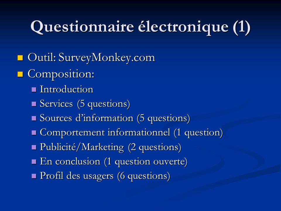 Questionnaire électronique (1) Outil: SurveyMonkey.com Outil: SurveyMonkey.com Composition: Composition: Introduction Introduction Services (5 questio