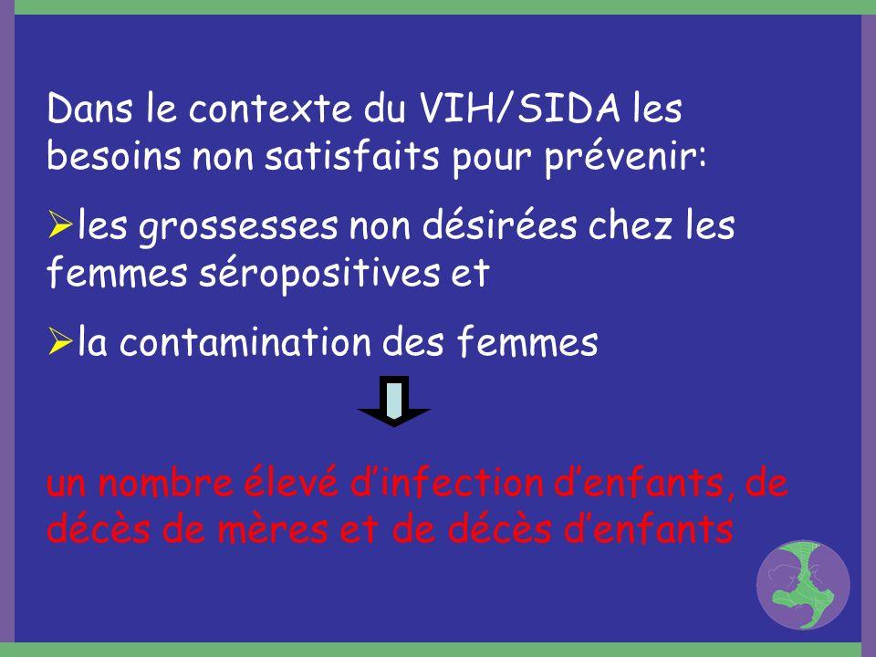 Dans le contexte du VIH/SIDA les besoins non satisfaits pour prévenir: les grossesses non désirées chez les femmes séropositives et la contamination d