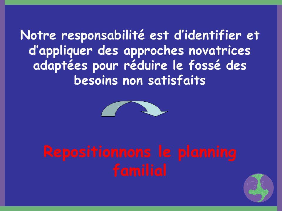 Notre responsabilité est didentifier et dappliquer des approches novatrices adaptées pour réduire le fossé des besoins non satisfaits Repositionnons l