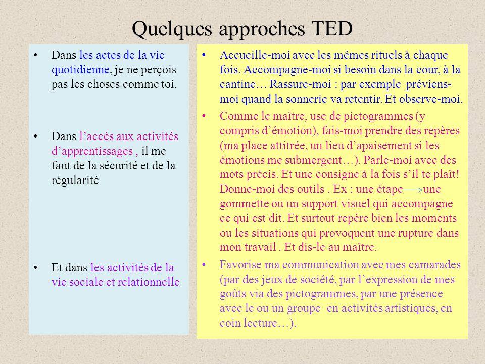 Quelques approches TED Dans les actes de la vie quotidienne, je ne perçois pas les choses comme toi.