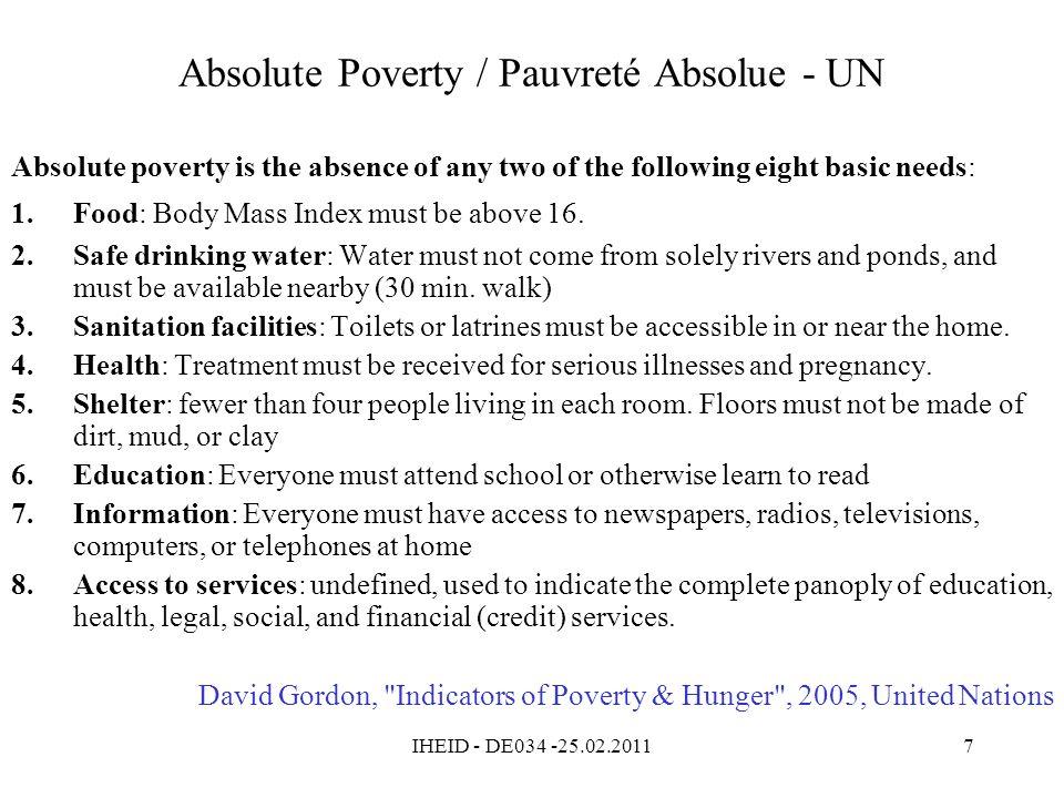 IHEID - DE034 -25.02.20118 Besoins humains - Développement humain Bénéficiaires vs.