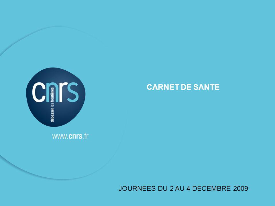 CARNET DE SANTE JOURNEES DU 2 AU 4 DECEMBRE 2009