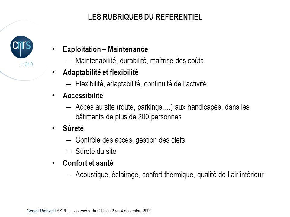 P. 010 LES RUBRIQUES DU REFERENTIEL Exploitation – Maintenance – Maintenabilité, durabilité, maîtrise des coûts Adaptabilité et flexibilité – Flexibil