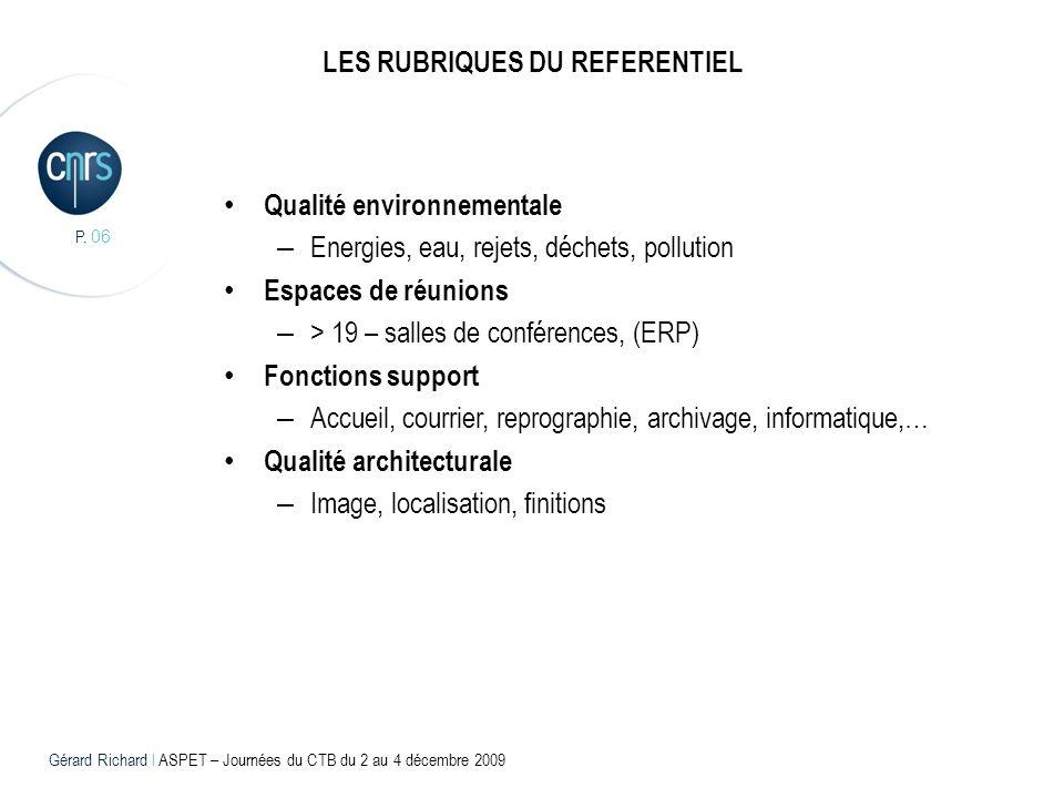 P. 06 LES RUBRIQUES DU REFERENTIEL Qualité environnementale – Energies, eau, rejets, déchets, pollution Espaces de réunions – > 19 – salles de confére