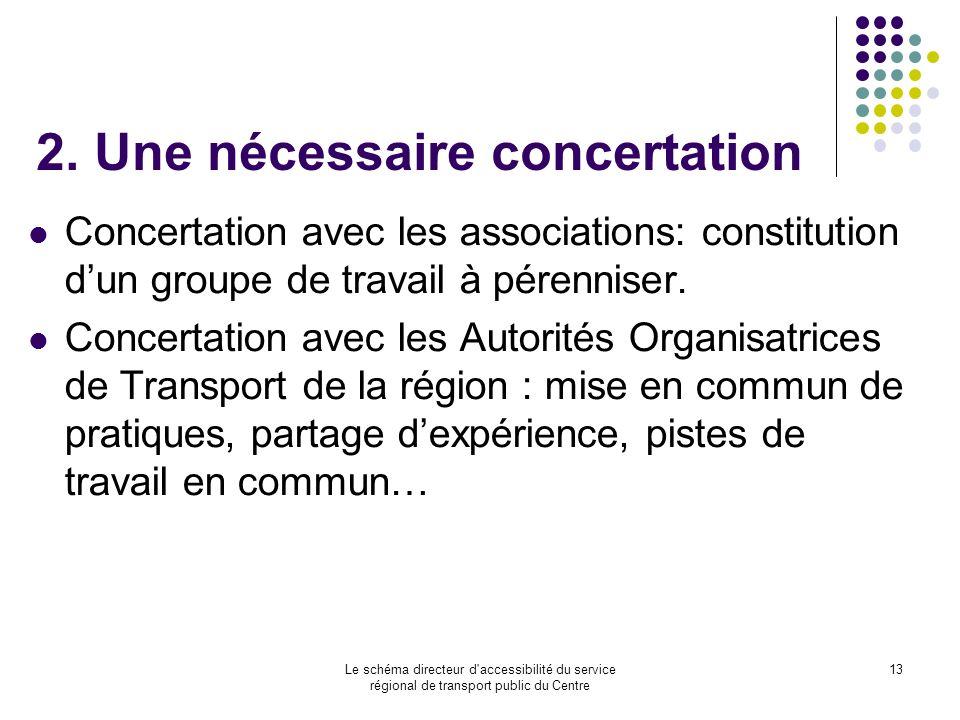 Le schéma directeur d'accessibilité du service régional de transport public du Centre 13 2. Une nécessaire concertation Concertation avec les associat