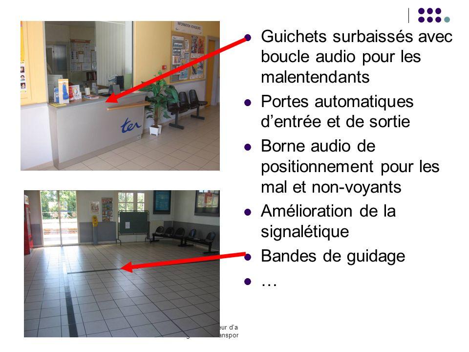 Le schéma directeur d'accessibilité du service régional de transport public du Centre 15 Guichets surbaissés avec boucle audio pour les malentendants