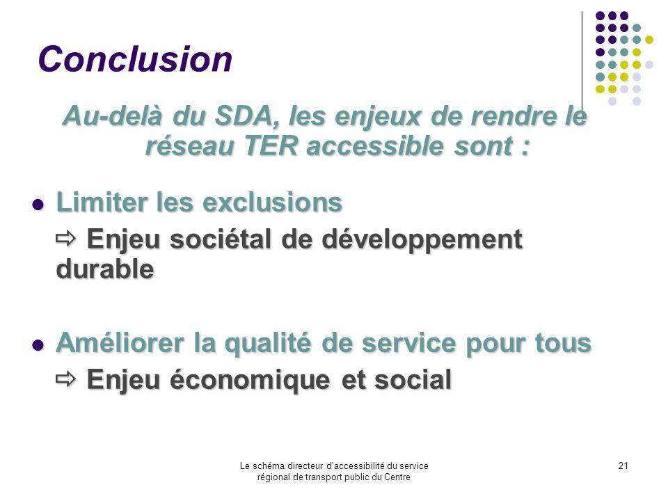 Le schéma directeur d'accessibilité du service régional de transport public du Centre 21 Conclusion Au-delà du SDA, les enjeux de rendre le réseau TER