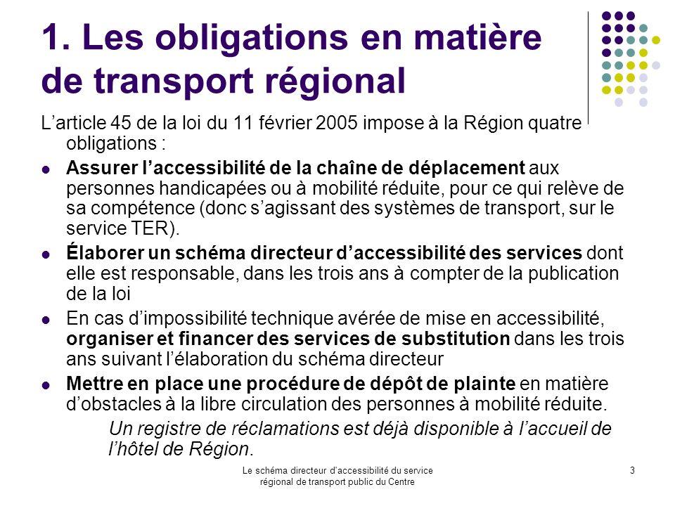 Le schéma directeur d'accessibilité du service régional de transport public du Centre 3 1. Les obligations en matière de transport régional Larticle 4