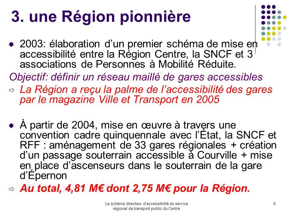 Le schéma directeur d'accessibilité du service régional de transport public du Centre 6 3. une Région pionnière 2003: élaboration dun premier schéma d