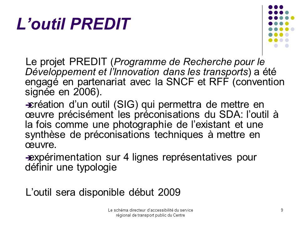 Le schéma directeur d'accessibilité du service régional de transport public du Centre 9 Loutil PREDIT Le projet PREDIT (Programme de Recherche pour le