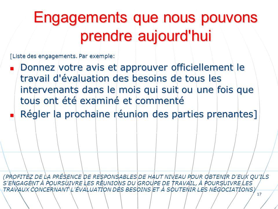 17 Engagements que nous pouvons prendre aujourd hui [Liste des engagements.