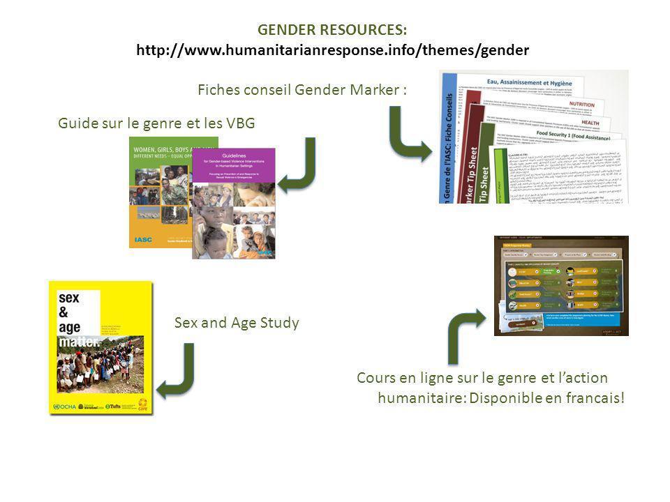 Fiches conseil Gender Marker : Guide sur le genre et les VBG Cours en ligne sur le genre et laction humanitaire: Disponible en francais! Sex and Age S