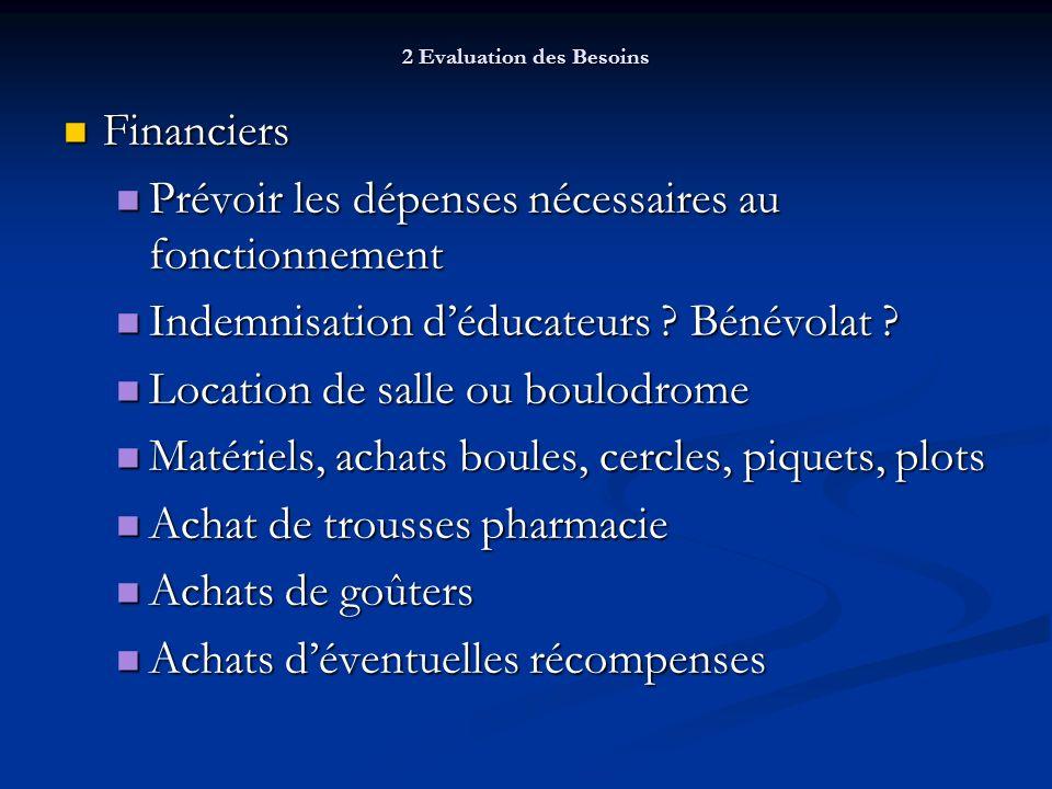2 Evaluation des Besoins Financiers Financiers Prévoir les dépenses nécessaires au fonctionnement Prévoir les dépenses nécessaires au fonctionnement Indemnisation déducateurs .