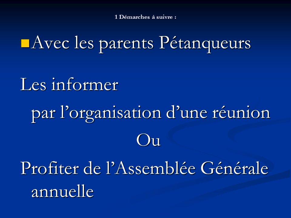 1 Démarches à suivre : Avec les parents Pétanqueurs Avec les parents Pétanqueurs Les informer par lorganisation dune réunion Ou Profiter de lAssemblée Générale annuelle