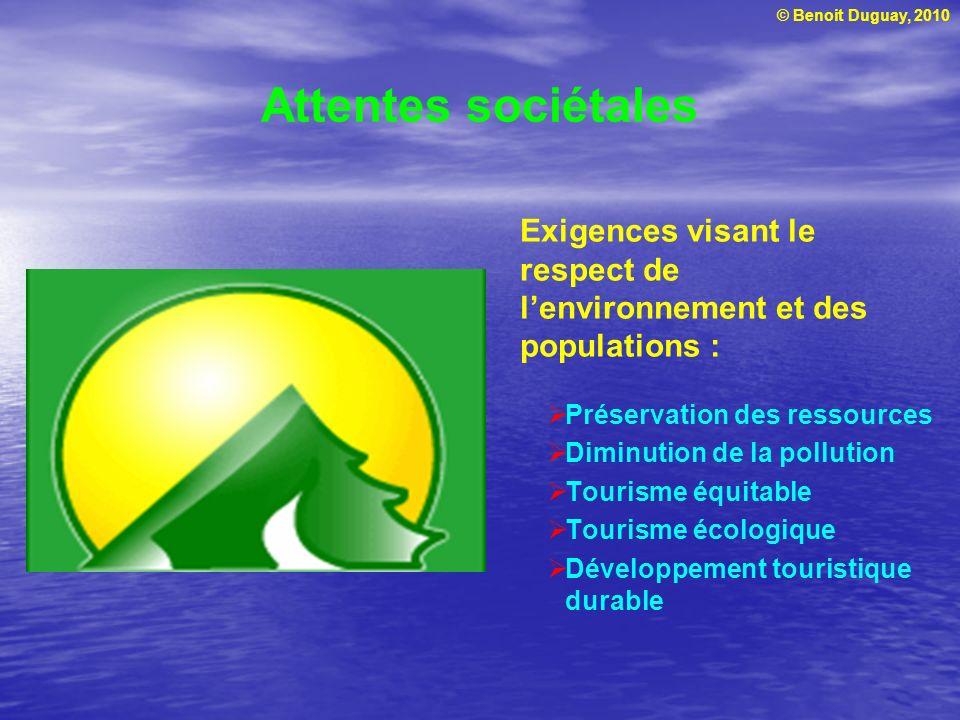 © Benoit Duguay, 2010 Attentes sociétales Préservation des ressources Diminution de la pollution Tourisme équitable Tourisme écologique Développement touristique durable Exigences visant le respect de lenvironnement et des populations :