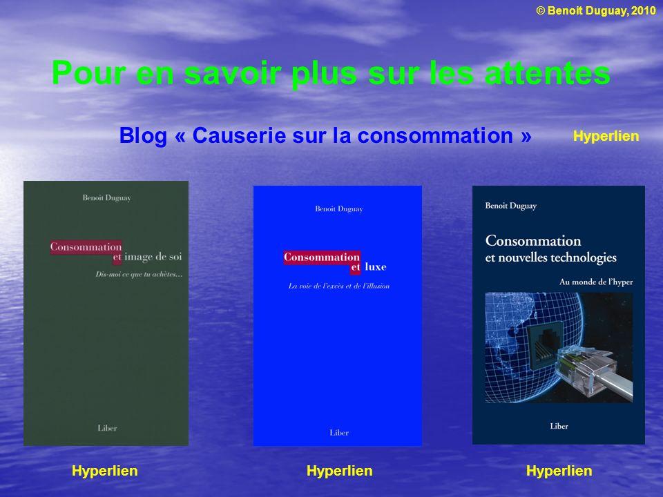 © Benoit Duguay, 2010 Pour en savoir plus sur les attentes Hyperlien Blog « Causerie sur la consommation » Hyperlien