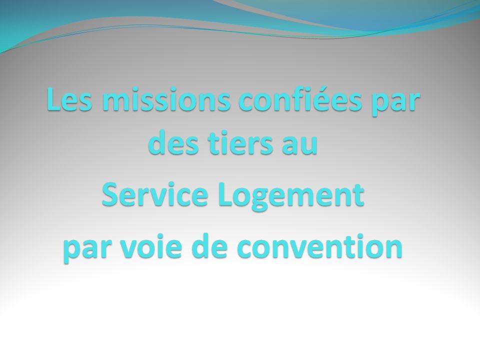 Les missions confiées par des tiers au Service Logement par voie de convention