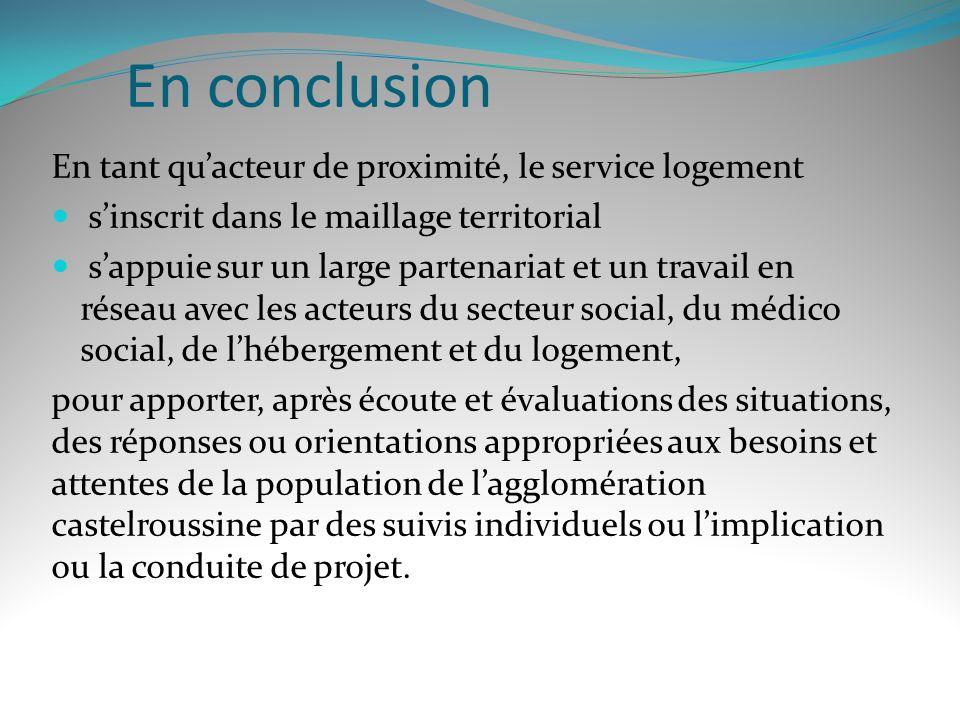 En conclusion En tant quacteur de proximité, le service logement sinscrit dans le maillage territorial sappuie sur un large partenariat et un travail