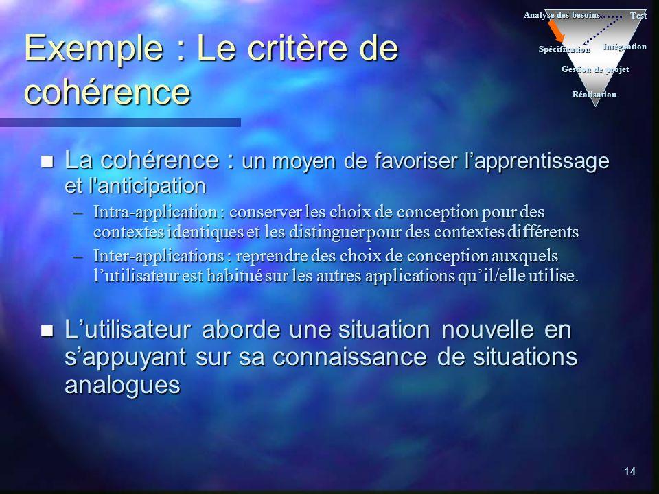 14 Exemple : Le critère de cohérence n La cohérence : un moyen de favoriser lapprentissage et l'anticipation –Intra-application : conserver les choix