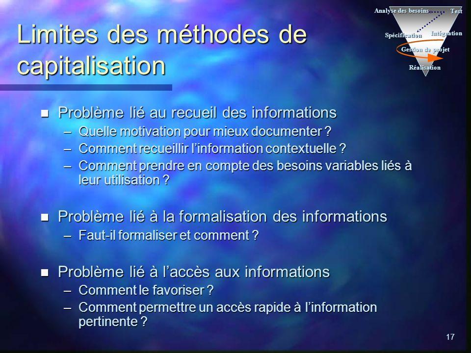 17 Limites des méthodes de capitalisation n Problème lié au recueil des informations –Quelle motivation pour mieux documenter .