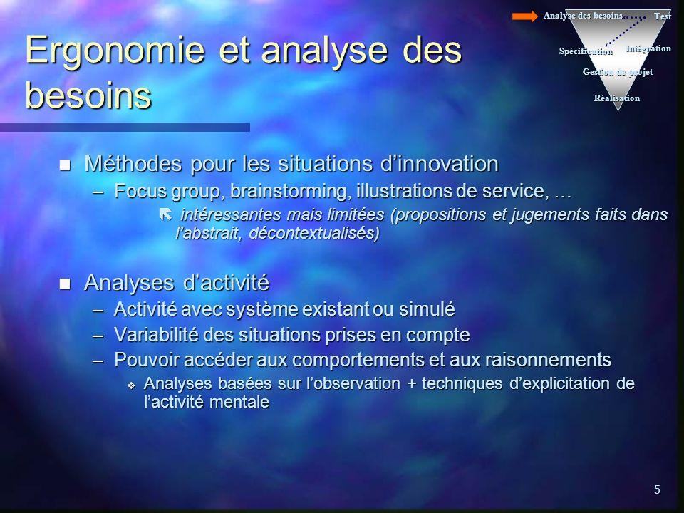 5 Ergonomie et analyse des besoins n Méthodes pour les situations dinnovation –Focus group, brainstorming, illustrations de service, … ë intéressantes