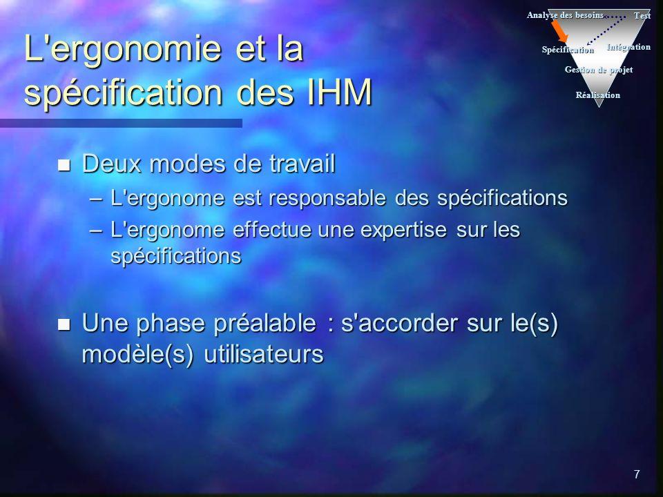 7 L'ergonomie et la spécification des IHM n Deux modes de travail –L'ergonome est responsable des spécifications –L'ergonome effectue une expertise su
