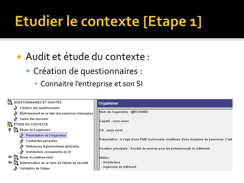 Etudier le contexte [Etape 1] Audit et étude du contexte : Création de questionnaires : Connaitre lentreprise et son SI