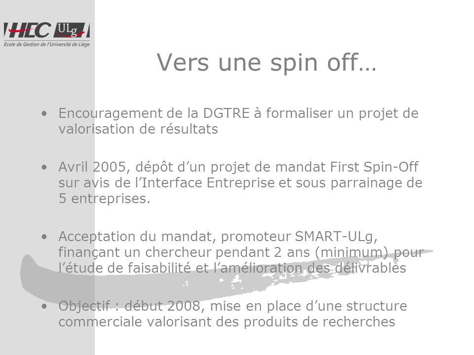 Vers une spin off… Encouragement de la DGTRE à formaliser un projet de valorisation de résultats Avril 2005, dépôt dun projet de mandat First Spin-Off sur avis de lInterface Entreprise et sous parrainage de 5 entreprises.