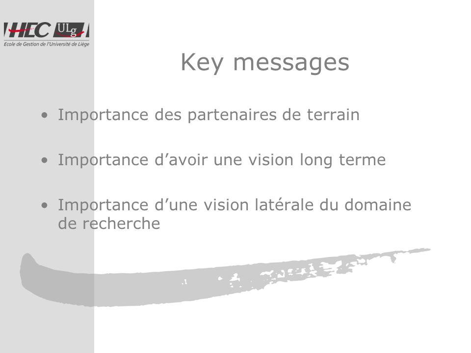 Key messages Importance des partenaires de terrain Importance davoir une vision long terme Importance dune vision latérale du domaine de recherche