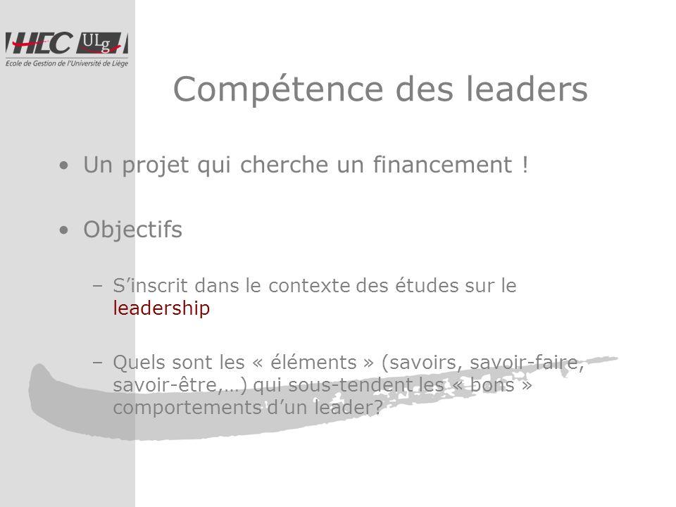 Compétence des leaders Un projet qui cherche un financement .