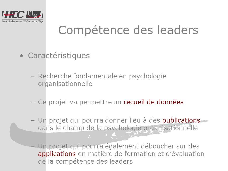 Compétence des leaders Caractéristiques –Recherche fondamentale en psychologie organisationnelle –Ce projet va permettre un recueil de données –Un projet qui pourra donner lieu à des publications dans le champ de la psychologie organisationnelle –Un projet qui pourra également déboucher sur des applications en matière de formation et dévaluation de la compétence des leaders