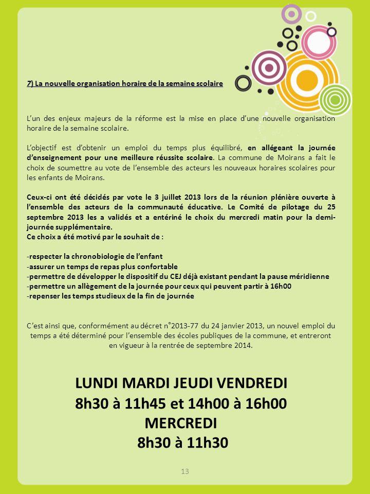 7) La nouvelle organisation horaire de la semaine scolaire 7) La nouvelle organisation horaire de la semaine scolaire Lun des enjeux majeurs de la réf