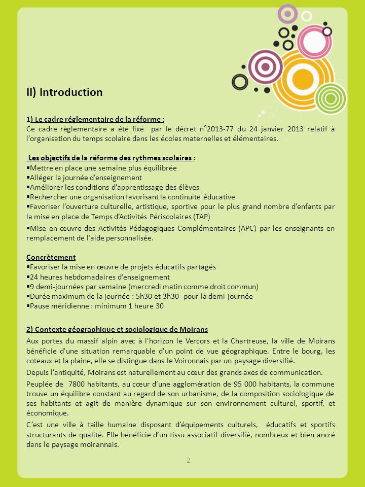 II) Introduction 1) Le cadre réglementaire de la réforme : Ce cadre règlementaire a été fixé par le décret n°2013-77 du 24 janvier 2013 relatif à lorg
