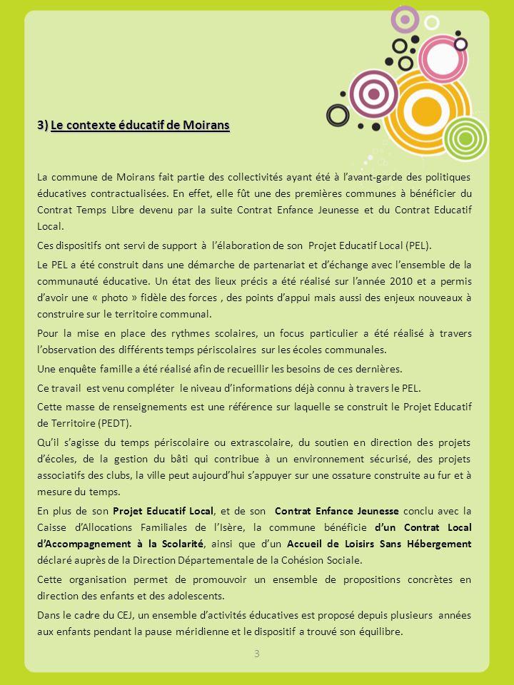 3) Le contexte éducatif de Moirans La commune de Moirans fait partie des collectivités ayant été à lavant-garde des politiques éducatives contractuali
