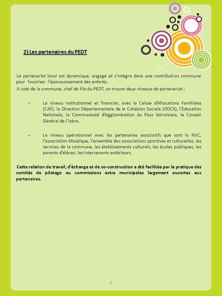 2) Les partenaires du PEDT Le partenariat local est dynamique, engagé et sintègre dans une contribution commune pour favoriser lépanouissement des enf